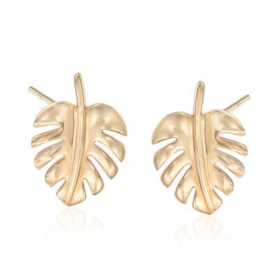 14kt Yellow Gold Leaf Stud Earrings, , default