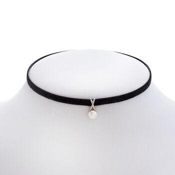 7-7.5mm Cultured Pearl and Black Velvet Choker Necklace with Diamond Accents. 13.5""