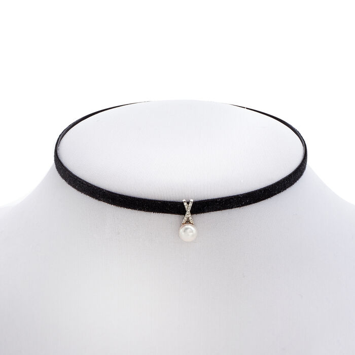 7-7.5mm Cultured Pearl and Black Velvet Choker Necklace with Diamond Accents
