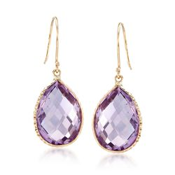13.00 ct. t.w. Amethyst Drop Earrings in 14kt Yellow Gold , , default