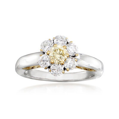 C. 1990 Vintage 1.25 ct. t.w. Yellow and White Diamond Flower Ring in 18kt Two-Tone Gold, , default