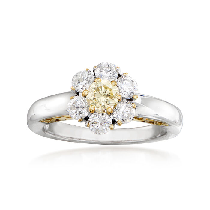 C. 1990 Vintage 1.25 ct. t.w. Yellow and White Diamond Flower Ring in 18kt Two-Tone Gold