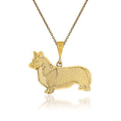 14kt Yellow Gold Welsh Corgi Pendant Necklace, , default