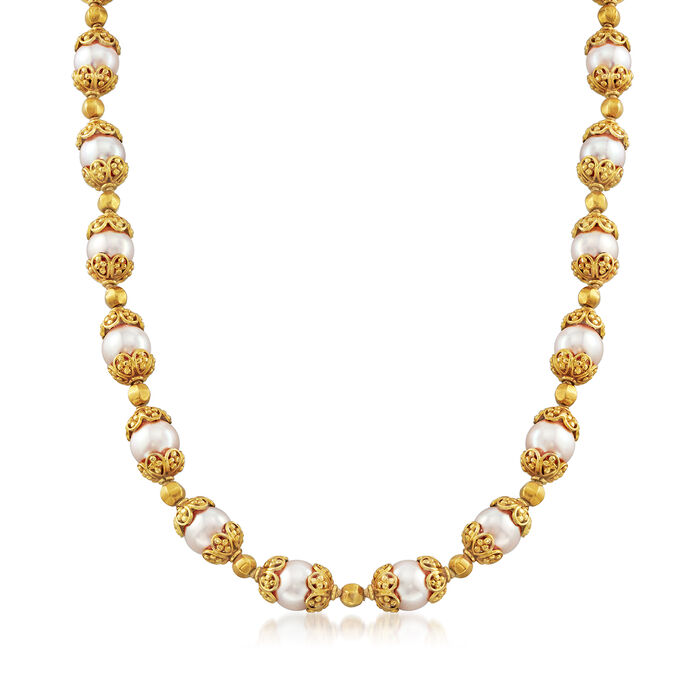 "C. 1990 Vintage Pearl Necklace in 18kt Yellow Gold. 15"", , default"