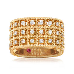 """Roberto Coin """"Barocco"""" .62 ct. t.w. Diamond Three-Row Ring in 18kt Gold, , default"""