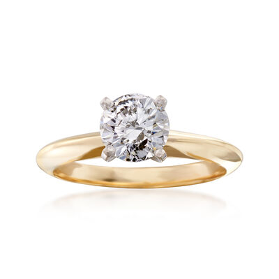 C. 1990 Vintage 1.00 Carat Diamond Solitaire Ring in 14kt Yellow Gold, , default
