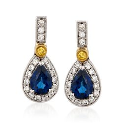 Simon G. 1.17 ct. t.w. Sapphire and .16 ct. t.w.  Diamond Earrings in 18kt Two-Tone Gold, , default