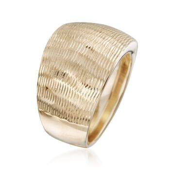 Italian 14kt Yellow Gold Diamond-Cut Wide-Band Ring. Size 6, , default