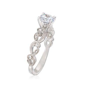 Simon G. .13 ct. t.w. Diamond Scroll Engagement Ring Setting in 18kt White Gold, , default