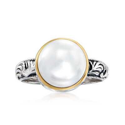 10mm Cultured Pearl Scrollwork Ring in Sterling Silver with 14kt Yellow Gold