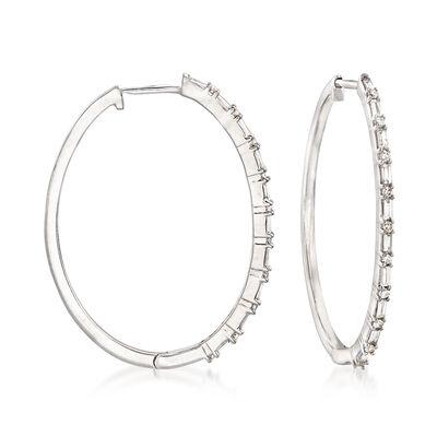 .26 ct. t.w. Diamond Hoop Earrings in 14kt White Gold, , default