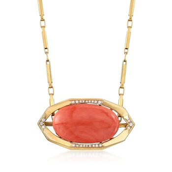 "C. 1960 Vintage Oval Pink Coral Cabochon and .40 ct. t.w. Diamond Pin Pendant Necklace in 18kt Yellow Gold. 24"", , default"