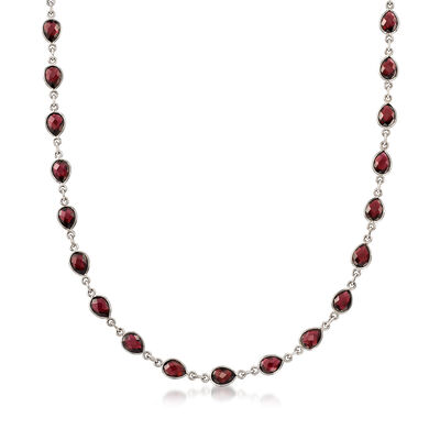 30.00 ct. t.w. Pear-Shaped Garnet Station Necklace in Sterling Silver, , default