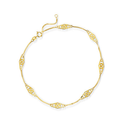 14kt Yellow Gold Station Anklet