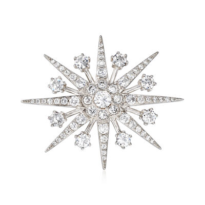 4.40 ct. t.w. CZ Star Pin Pendant in Sterling Silver, , default
