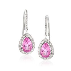 3.50 ct. t.w. Pink Topaz and .20 ct. t.w. Diamond Drop Earrings in 14kt White Gold , , default