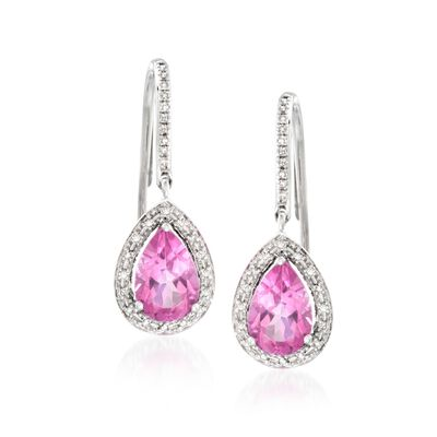 3.50 ct. t.w. Pink Topaz and .20 ct. t.w. Diamond Drop Earrings in 14kt White Gold, , default
