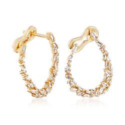 """.62 ct. t.w. Diamond Baguette Hoop Earrings in 14kt Yellow Gold. 3/4"""", , default"""