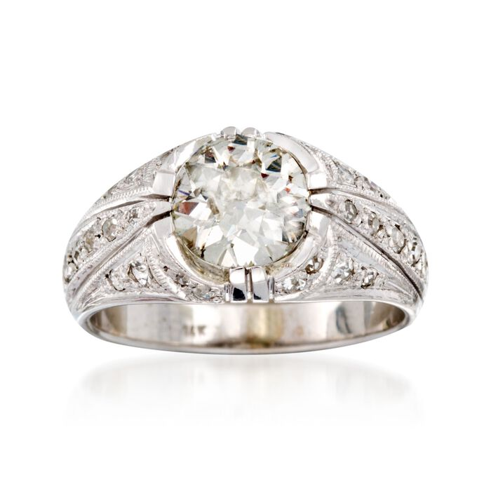 C. 1950 Vintage 1.85 ct. t.w. Diamond Ring in 14kt White Gold. Size 7