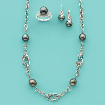 10-11mm Cultured Tahitian Pearl Chain Necklace in Sterling Silver, , default