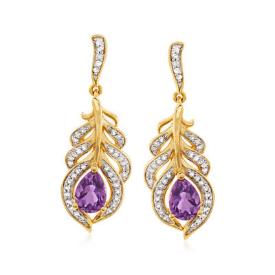 1.20 ct. t.w. Amethyst and .30 ct. t.w. White Topaz Feather Drop Earrings in 18kt Gold Over Sterling