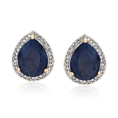 5.25 ct. t.w. Madagascar Sapphire and .15 ct. t.w. Diamond Earrings in 14kt Yellow Gold with White Rhodium, , default