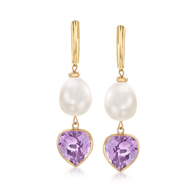 9.5-10mm Cultured Pearl and 7.50 ct. t.w. Amethyst Drop Earrings in 14kt Yellow Gold, , default