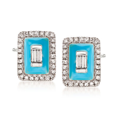 .20 ct. t.w. Diamond Earrings with Turquoise Enamel in 18kt White Gold, , default