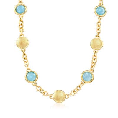 Italian Andiamo Blue Chalcedony Bezel Set Necklace in 14kt Yellow Gold, , default