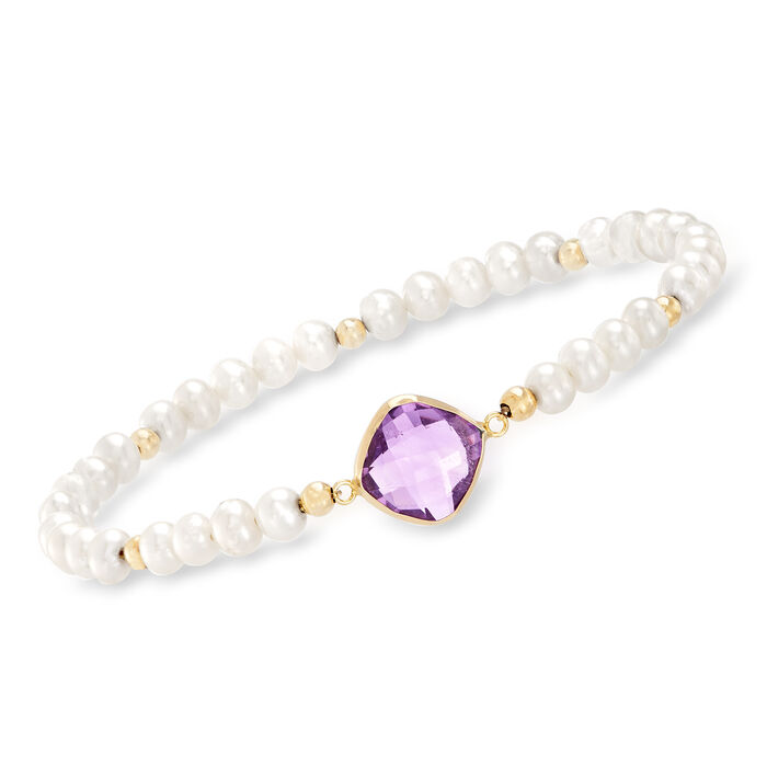 4-5mm Cultured Pearl and 4.00 Carat Amethyst Stretch Bracelet in 14kt Yellow Gold