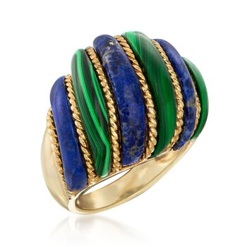 Lapis and Malachite Dome Ring in 18kt Yellow Gold Over Sterling Silver