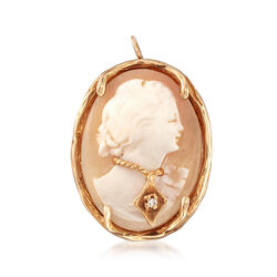 C. 1970 Vintage Carved Shell Cameo Pin Pendant in 14kt Yellow Gold , , default