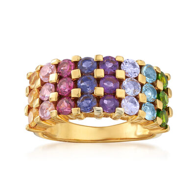 2.20 ct. t.w. Multi-Gem Triple-Row Ring in 18kt Gold Over Sterling, , default