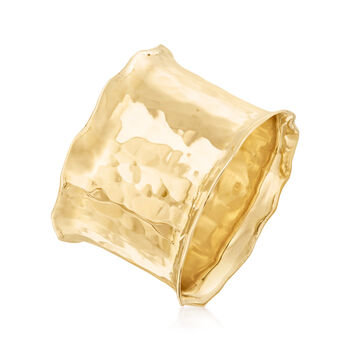 14kt Yellow Gold Wide Hammered Ring, , default
