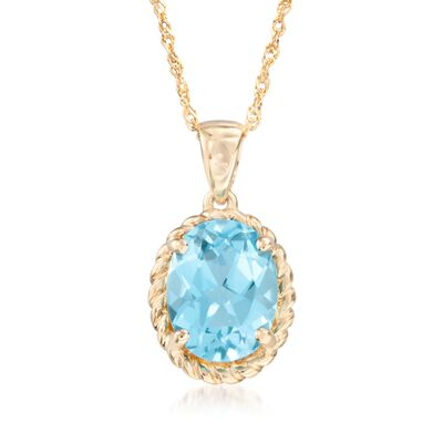 2.00 Carat Blue Topaz Pendant Necklace in 14kt Yellow Gold, , default