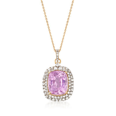 11.00 Carat Kunzite and 1.75 ct. t.w. White Zircon Pendant Necklace in 14kt Yellow Gold, , default