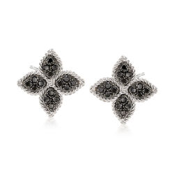 "Roberto Coin ""Princess"" .35 ct. t.w. Black Diamond Flower Earrings in 18kt White Gold, , default"