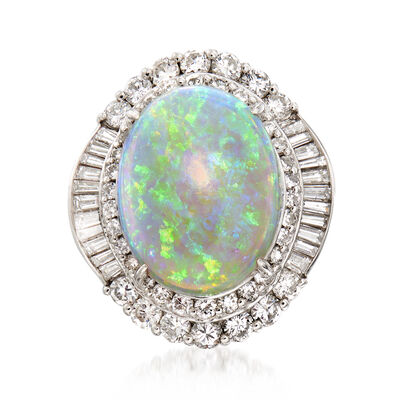 C. 1980 Vintage Opal and 1.65 ct. t.w. Diamond Ring in Platinum, , default
