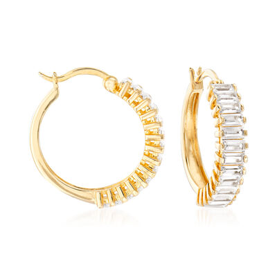 4.00 ct. t.w. CZ Baguette Hoop Earrings in 18kt Gold Over Sterling, , default