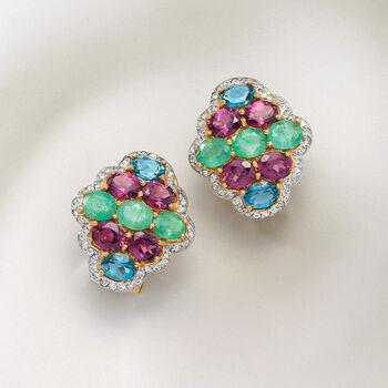7.60 ct. t.w. Multi-Gemstone Earrings in 18kt Gold Over Sterling, , default