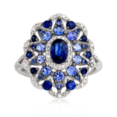 1.60 ct. t.w. Sapphire and .30 ct. t.w. Diamond Ring in 14kt White Gold