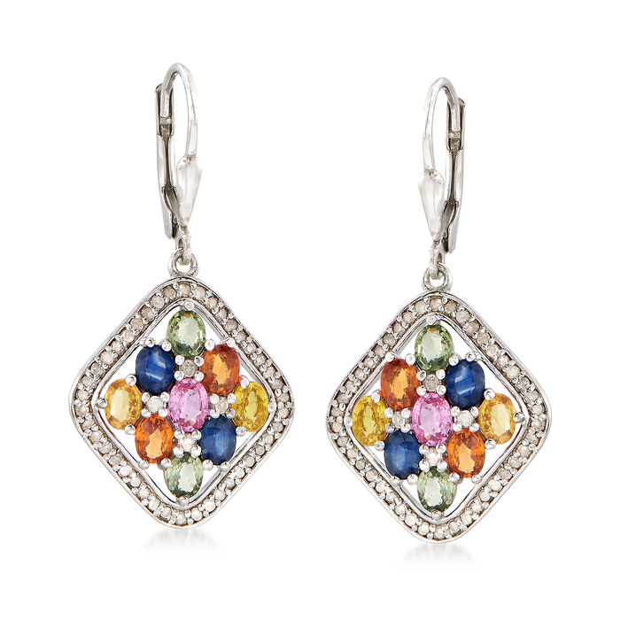 3.60 ct. t.w. Multicolored Sapphire and .50 ct. t.w. Diamond Drop Earrings in Sterling Silver, , default