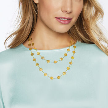 """14kt Yellow Gold Hammered Disc Station Necklace. 38"""""""
