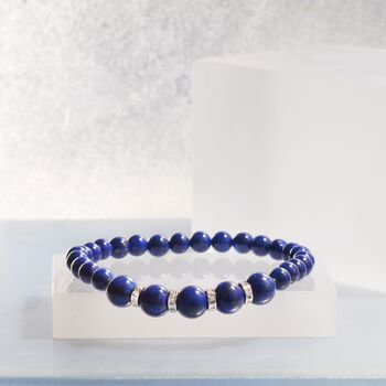 6-8mm Lapis Bead Stretch Bracelet with .24 ct. t.w. Diamonds in Sterling Silver, , default