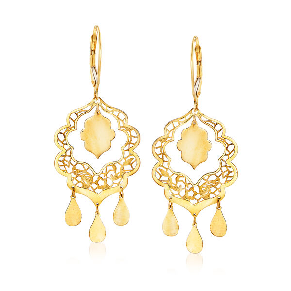 Italian 14kt Yellow Gold Filigree Drop Earrings #917128