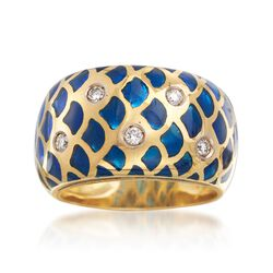 C. 1990 Vintage Blue Enamel and .15 ct. t.w. Diamond Ring in 18kt Yellow Gold. Size 6.5, , default