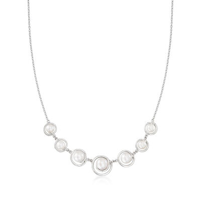 6.5-10mm Cultured Pearl Graduated Necklace in Sterling Silver