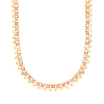 "C. 1970 Vintage 14kt Two-Tone Gold Geometric Link Necklace. 18"", , default"