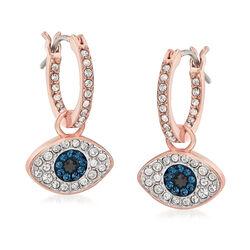 Swarovski Crystal Evil Eye Hoop Earrings in Rose Gold-Plated Metal, , default