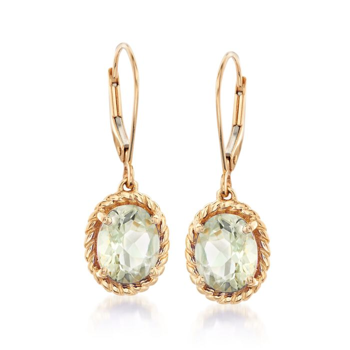3.20 ct. t.w. Green Prasiolite Twisted Frame Drop Earrings in 14kt Yellow Gold